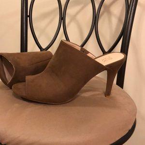 Brown suede open toe heels